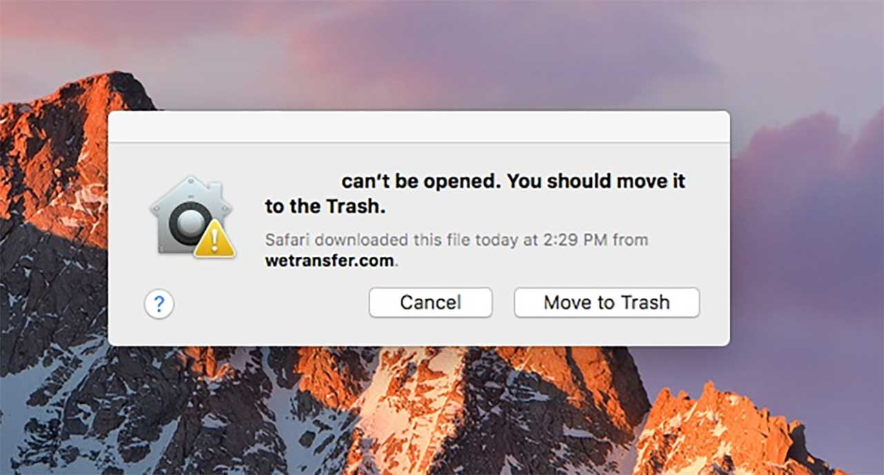 Software can't be opened. You should move it to trash